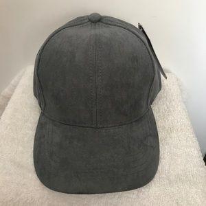 SOLID GREY SUEDE LIKE FABRIC BASEBALL CAP